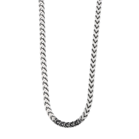Beauniq Men's Solid Sterling Silver Rhodium Plated 3mm Franco Chain Necklace, 20""