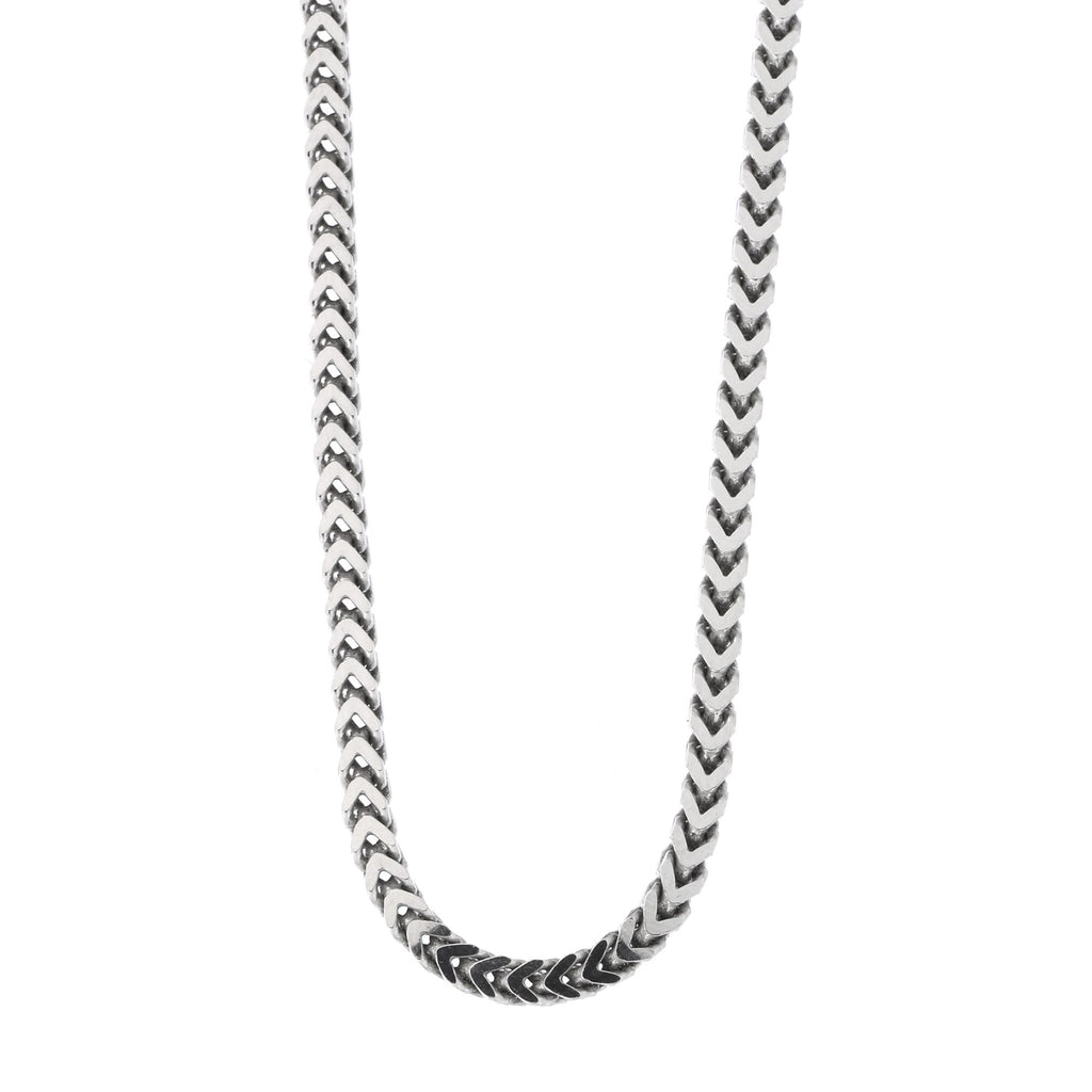 Beauniq Men's Solid Sterling Silver Rhodium Plated 4mm Franco Chain Necklace, 20""