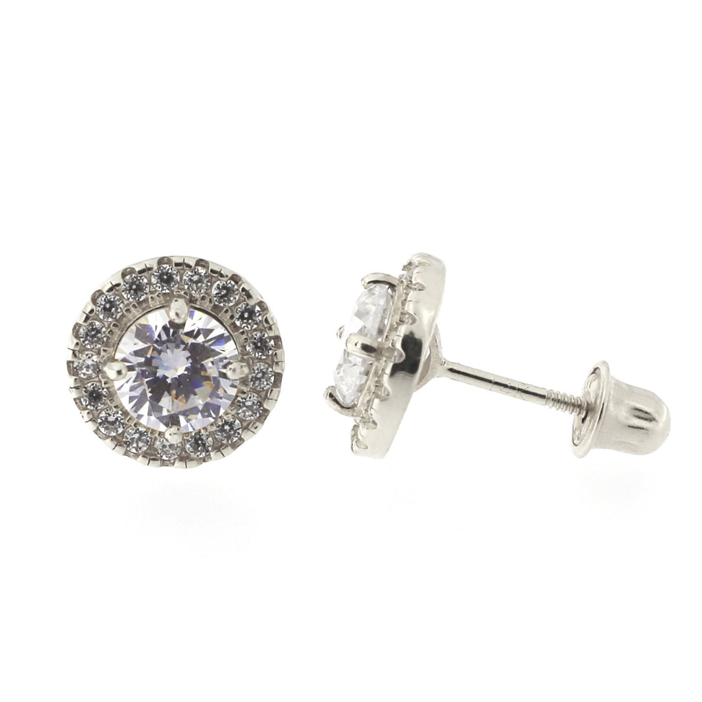 Solid 14k Yellow or White Gold Cubic Zirconia Halo Stud Earrings