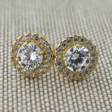 Solid 14k White Gold Cubic Zirconia Halo Stud Earrings
