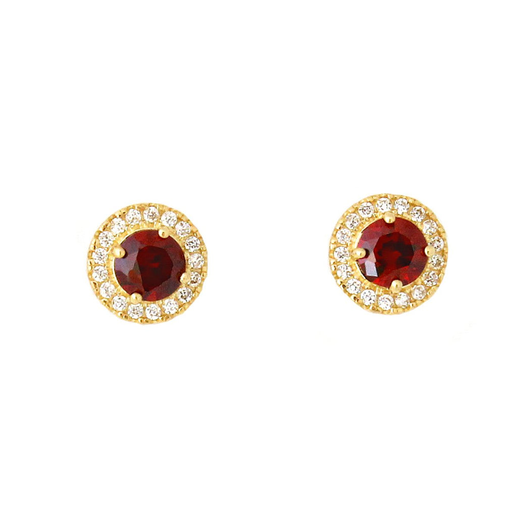 14k Yellow Gold Simulated Birthstone and Cubic Zirconia Round Halo Stud Earrings