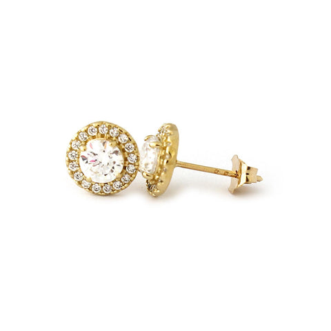 14k Yellow Gold Simulated Birthstone and Cubic Zirconia Halo Stud Earrings - January - Simulated Garnet