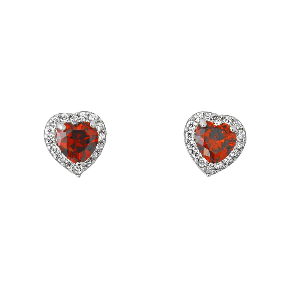 14k White Gold Simulated Birthstone and Cubic Zirconia Heart Halo Stud Earrings