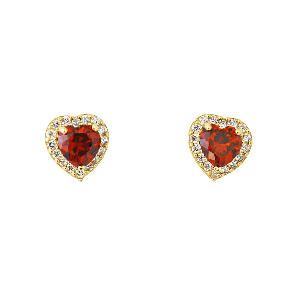 14k Yellow Gold Simulated Birthstone and Cubic Zirconia Heart Shape Halo Stud Earrings