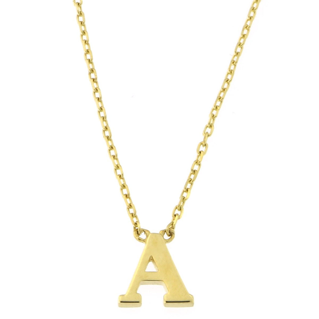 Beauniq 14k Yellow, White or Rose Gold Tiny Delicate Initial Pendant Necklace, 16""