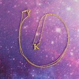 "Beauniq 14k Yellow Gold Tiny Initial Pendant Necklace, 16"" - A"