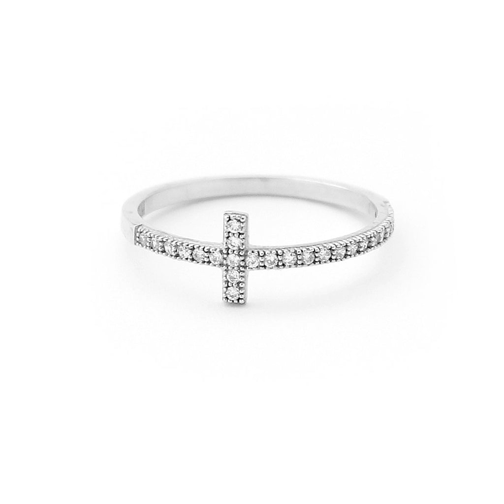 Solid Sterling Silver Rhodium Plated Cubic Zirconia Sideways Cross Ring, Size 5