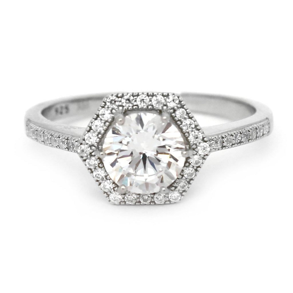 Solid Sterling Silver Rhodium Plated 1.25ct Cubic Zirconia Octagonal Halo Engagement Ring - size 5