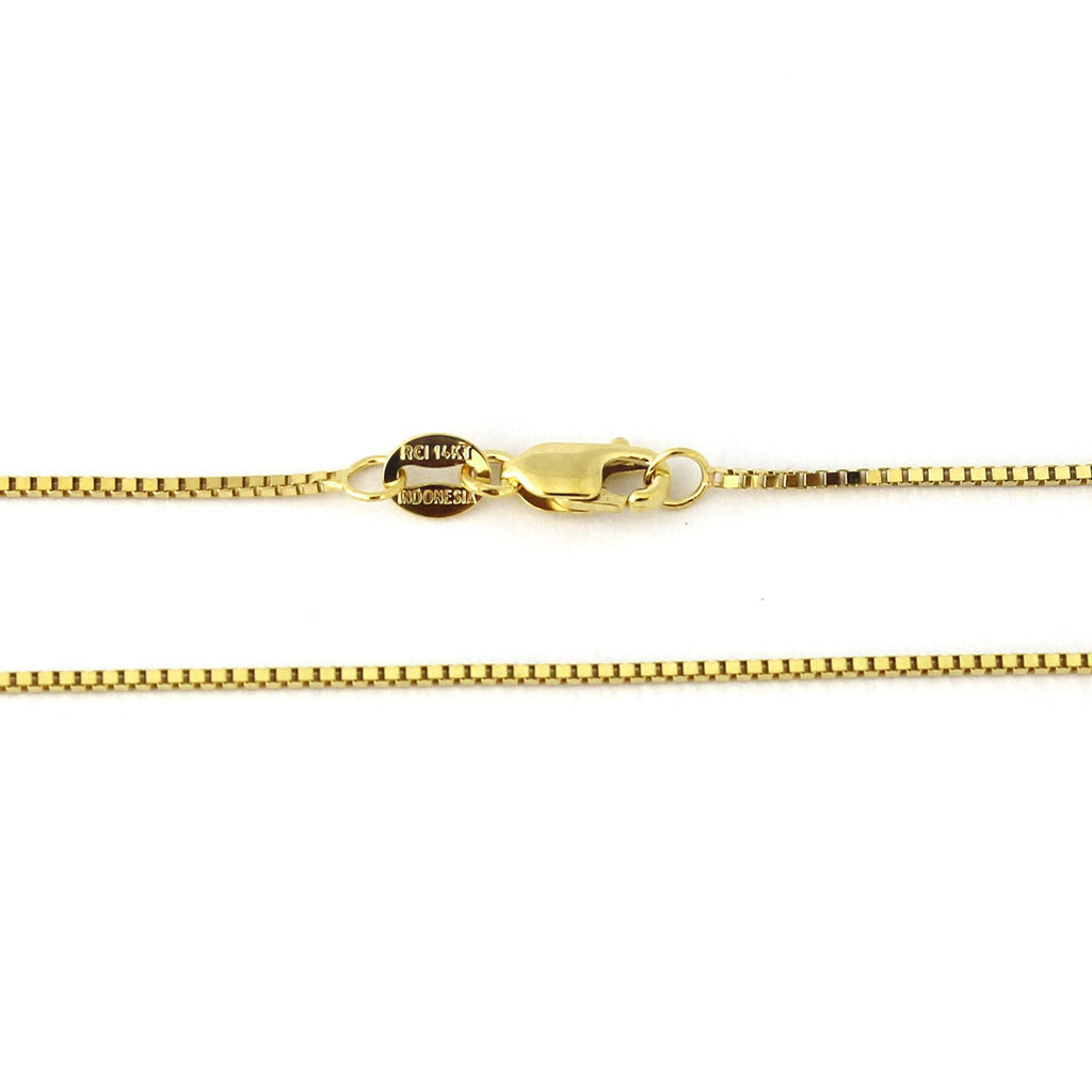 "14k Yellow or White 1.0mm Box Chain Necklace, 16"" 18"" 20"" 22"" 24"" 30"""