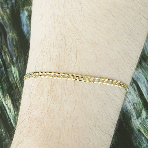 Solid 14k Yellow Gold Comfort Cuban Curb 3.6mm Chain Bracelet, 7""