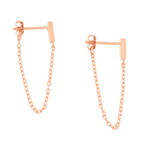 Solid Rose Gold-Tone Sterling Silver Rhodium Plated Bar Stud with Chain Dangle Earrings