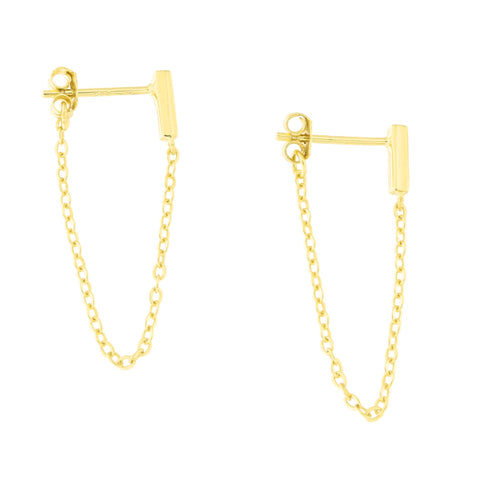 Solid Gold-Tone Sterling Silver Rhodium Plated Bar Stud with Chain Dangle Earrings
