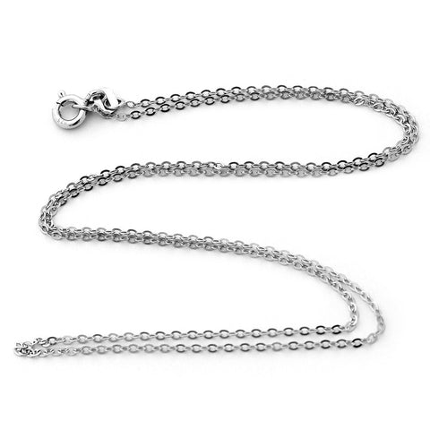 Solid Sterling Silver Rhodium Plated 1.3mm Cable Chain Necklace - 16""