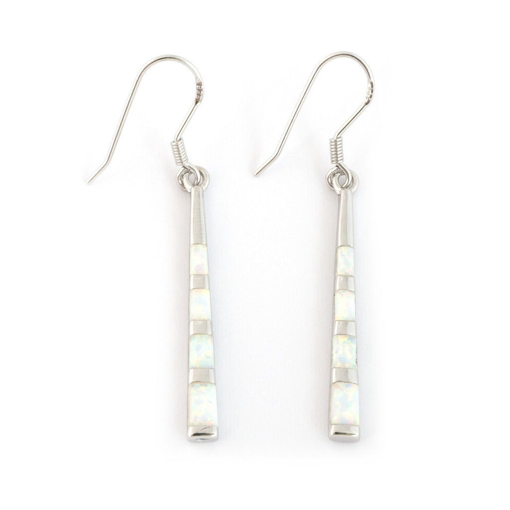 Solid Sterling Silver Rhodium Plated Simulated White Opal Inlay Long Vertical Bar Dangle Earrings