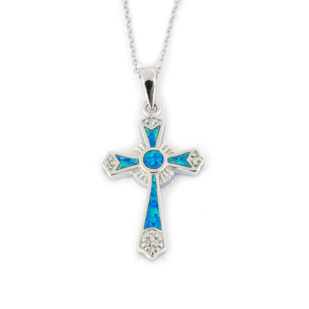 Solid Sterling Silver Rhodium Plated Blue Inlay Simulated Opal Catholic Cross Pendant Necklace - 16""