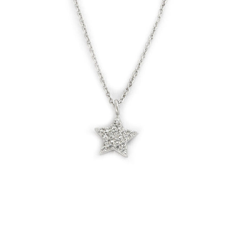 "Solid Sterling Silver Tiny CZ Micro Pave Star Pendant Choker 14"" - 16"" Necklace"