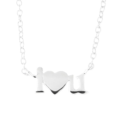 "Sterling Silver""I Heart U"" Pendant Necklace, 18"""