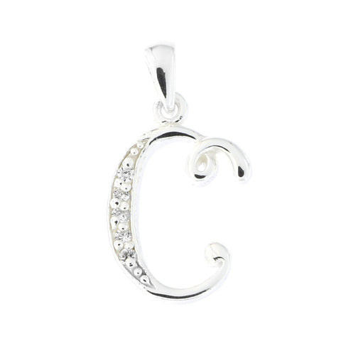 Beauniq Sterling Silver Cubic Zirconia Cursive C Pendant Necklace, Pendant only