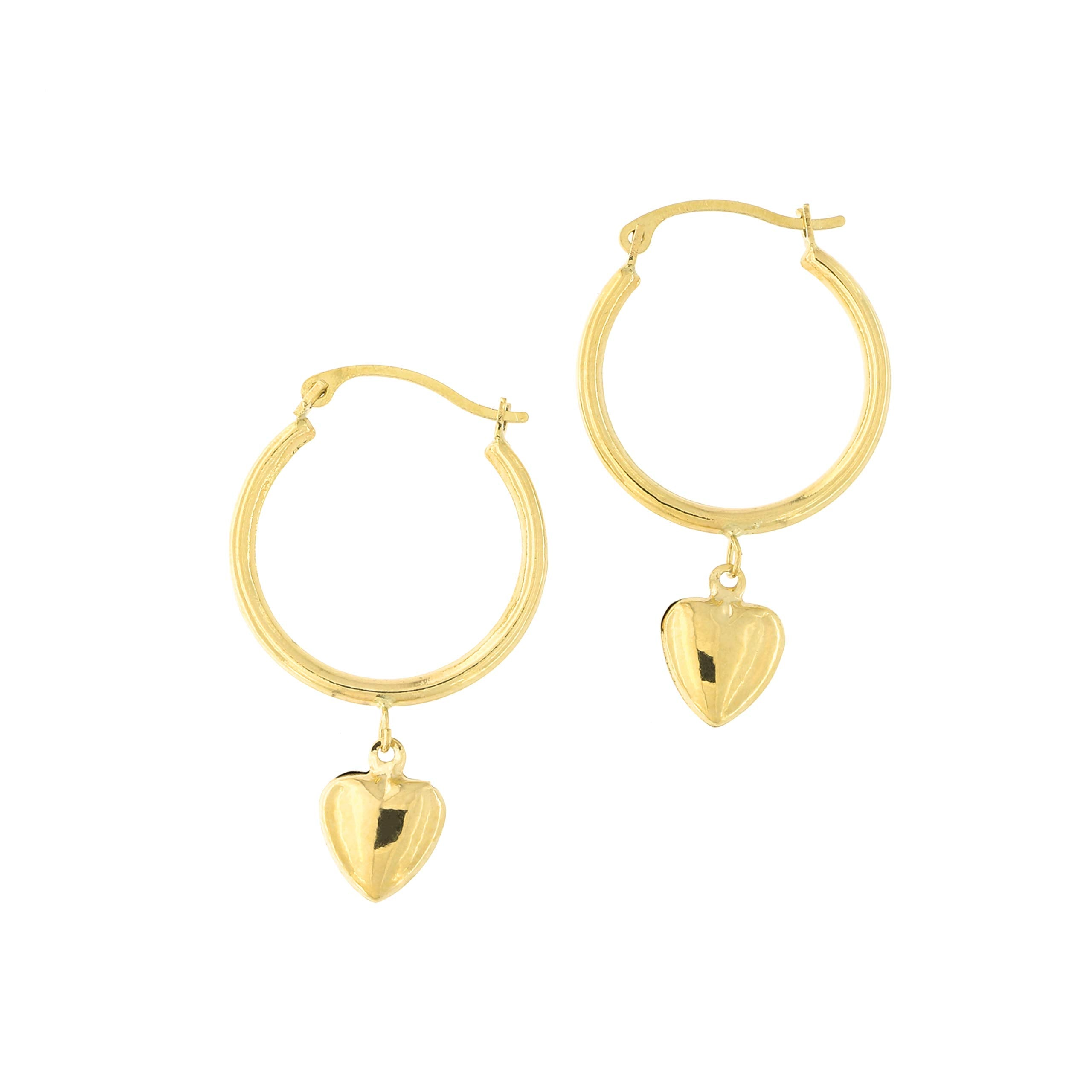 a380fe33c2ae6 14k Yellow Gold Hoop Earrings with Removable Heart Charm