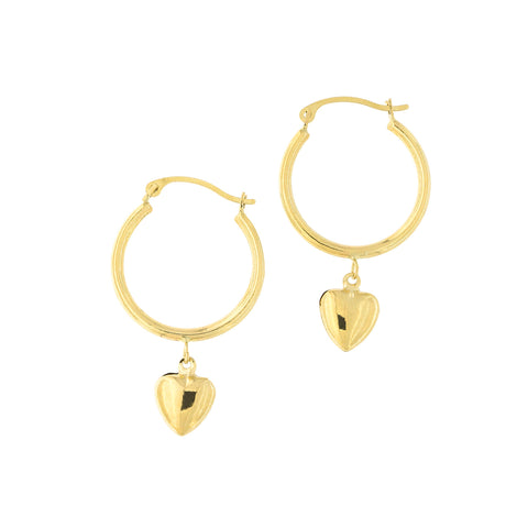 14k Yellow Gold Hoop Earrings with Removable Heart Charm