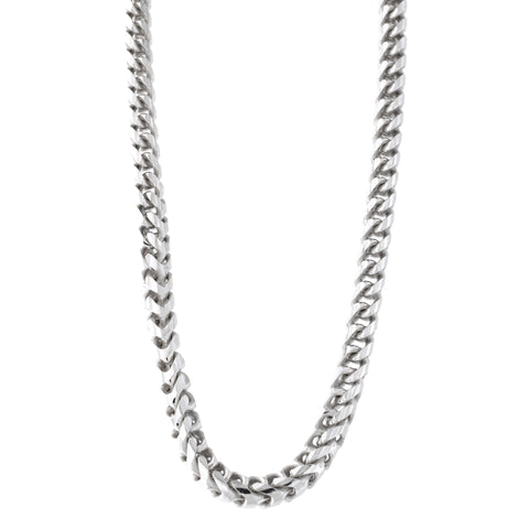 Sterling Silver Rhodium Plated Diamond Cut Round Franco Chain Necklace