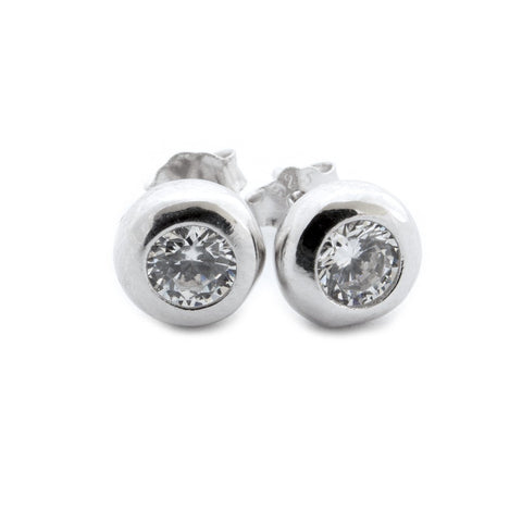 Solid Sterling Silver Rhodium Plated Bezel Set Cubic Zirconia Stud Earrings