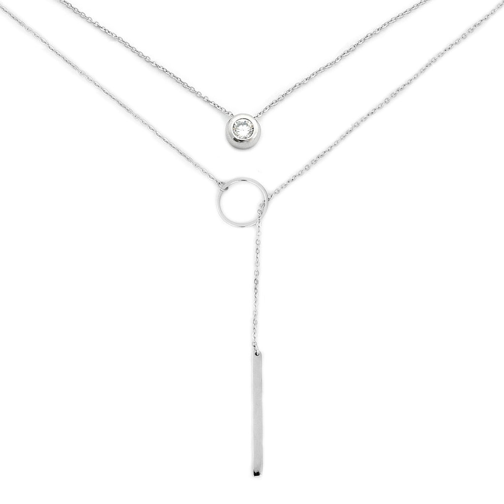 Solid Sterling Silver Rhodium Plated Bezel Set Cubic Zirconia and Open Circle Lariat Necklace Set