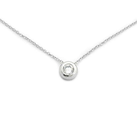Solid Sterling Silver Rhodium Plated Bezel Set Cubic Zirconia Solitaire Pendant Necklace, 18""