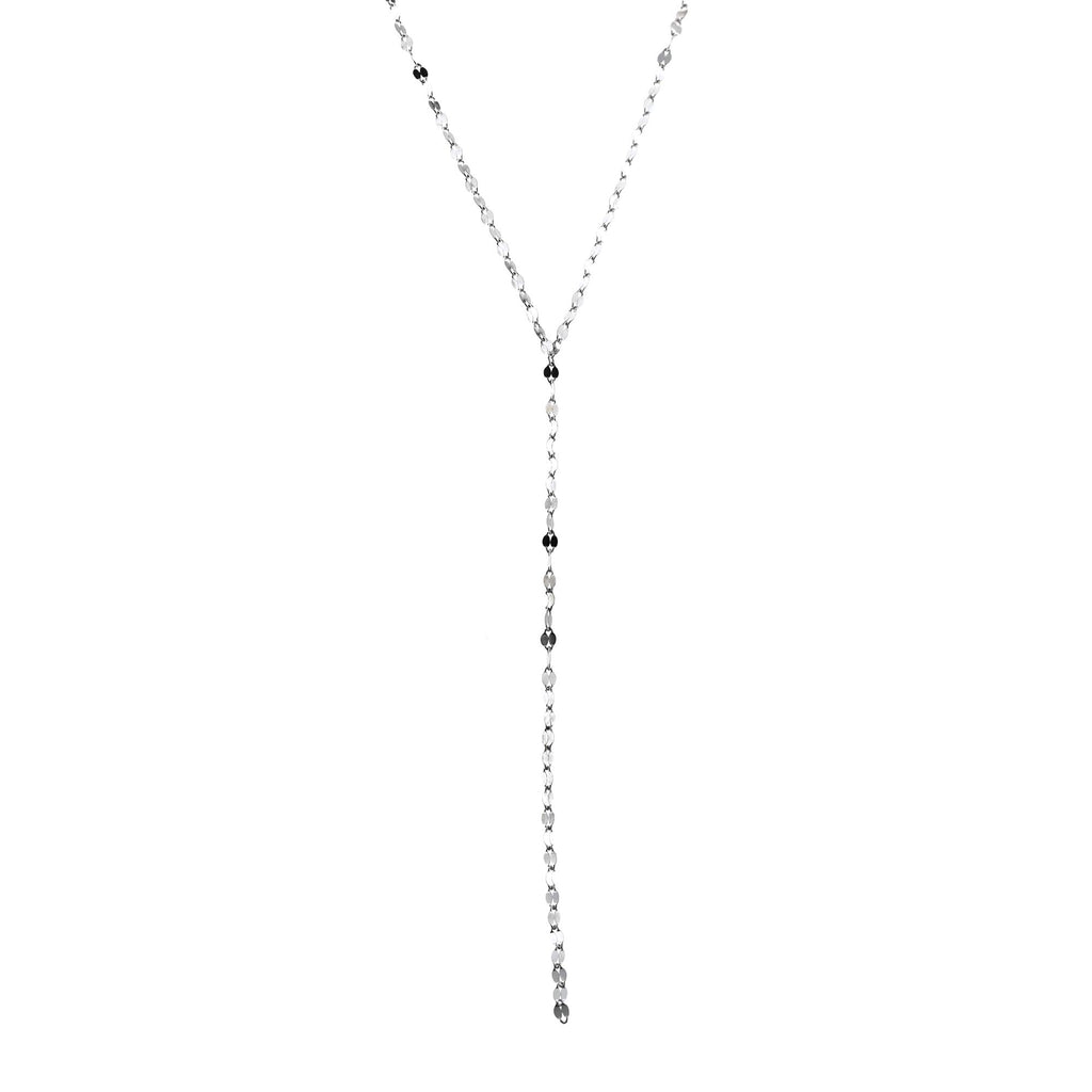 "Solid Sterling Silver Rhodium Plated Link Chain Y Lariat Necklace, Adjustable 19.5""-21.5"""