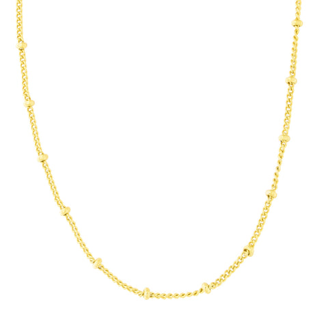 Gold Tone Sterling Silver 2.25mm Bead Chain Station Necklace, 16""