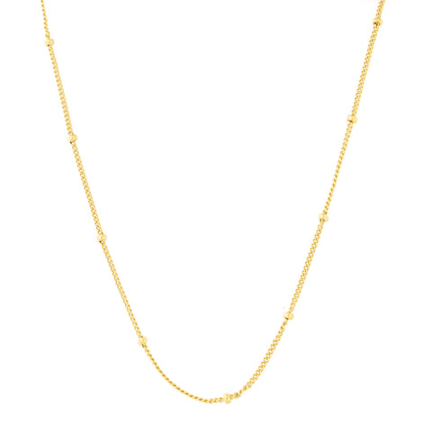 "Gold Tone Sterling Silver 1.75mm Bead Chain Station Necklace, Adjustable 15.5"" -17.5"""