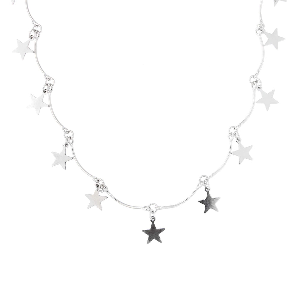 "Sterling Silver Rhodium Plated Dangling Star Choker Necklace, 13""- 15"""