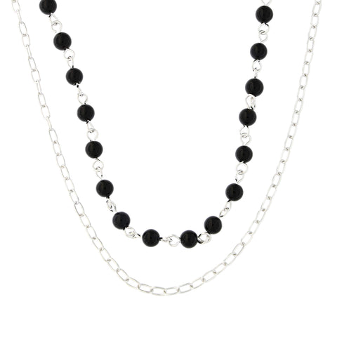 Sterling Silver Rhodium Plated Simulated Onyx Black Bead Double Chain Layered Choker Necklace, 15""