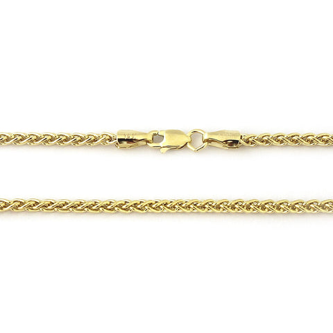 Beauniq 14k Yellow Gold 3.3mm Wheat Chain Necklace, 18""