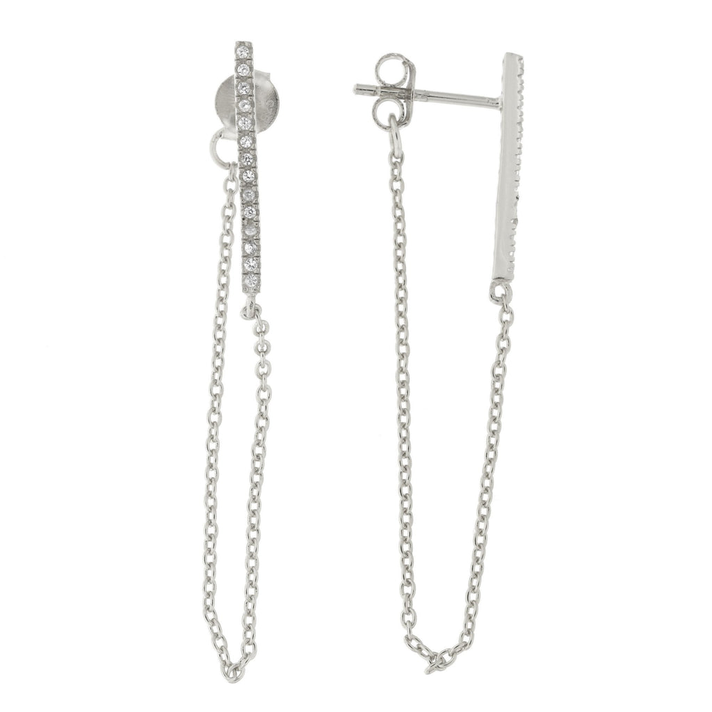 Sterling Silver Cubic Zirconia Bar with Dangling Chain Stud Earrings