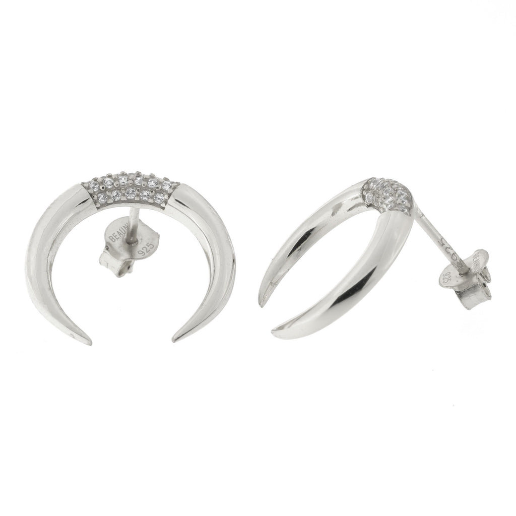 Sterling Silver Cubic Zirconia Crescent Double Horn Stud Earrings