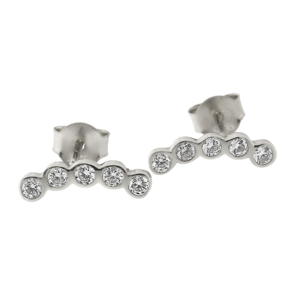Sterling Silver Cubic Zirconia Curved Bar Stud Earrings