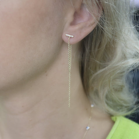 Sterling Silver Cubic Zirconia Bar with Chains Dangle Earrings