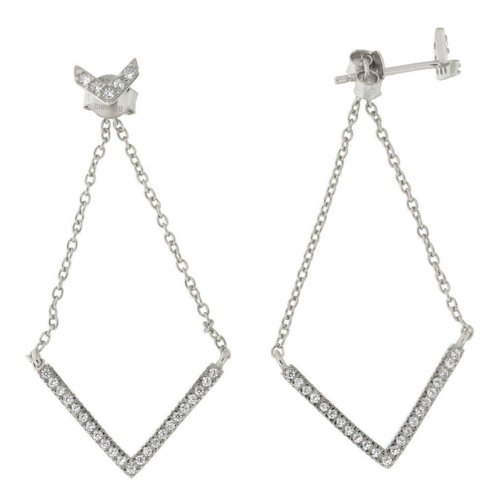 Sterling Silver Cubic Zirconia Chevron Dangle Earrings