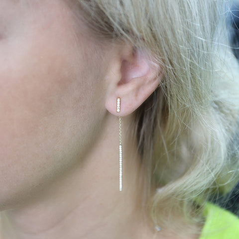 Sterling Silver Cubic Zirconia Bar Dangle Earrings