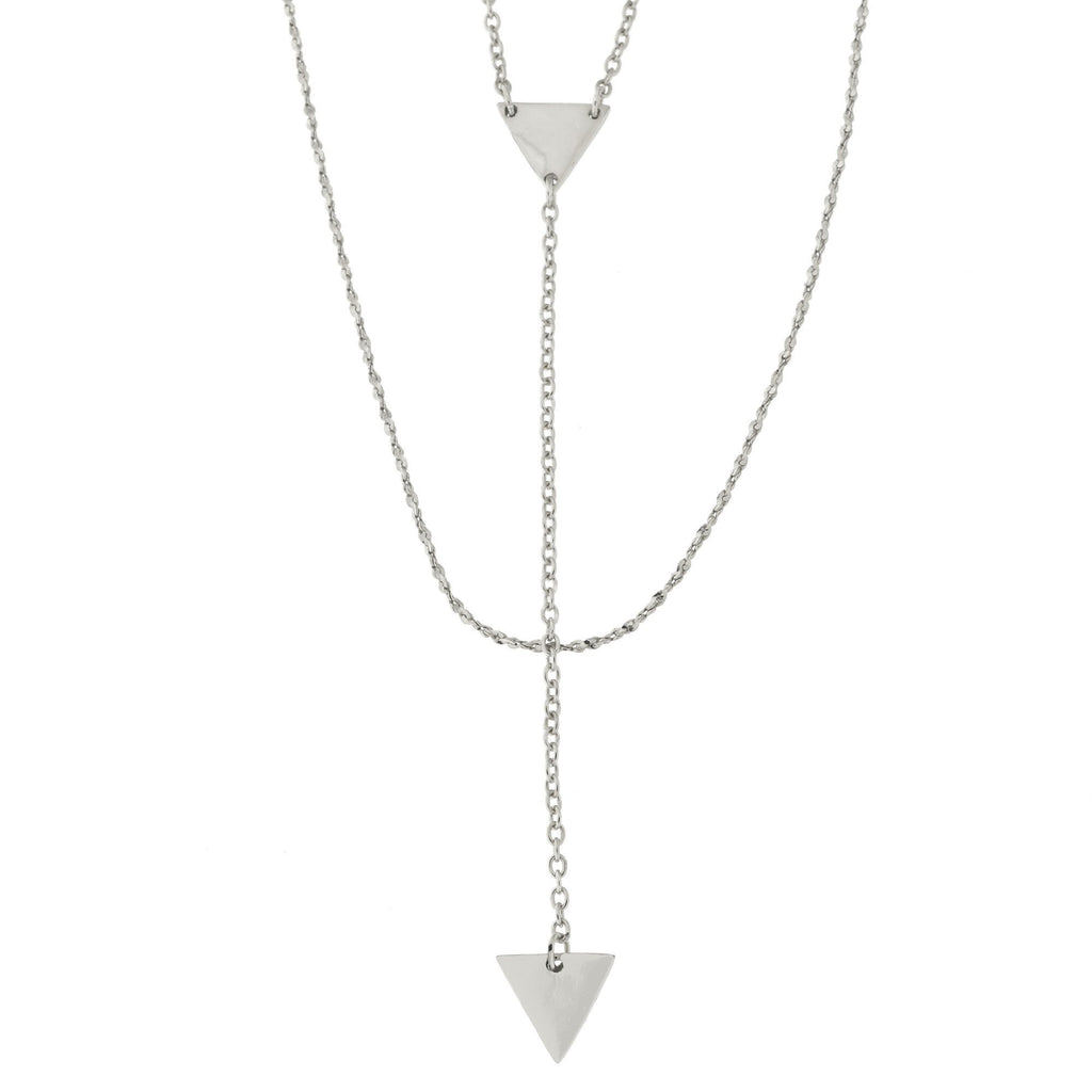 "Sterling Silver Triangle Layered Lariat Necklace, 19""-20"""