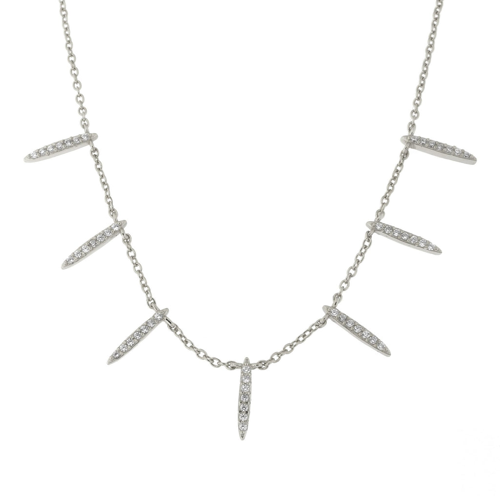 "Sterling Silver Cubic Zirconia Spike Necklace, 15""-17"""