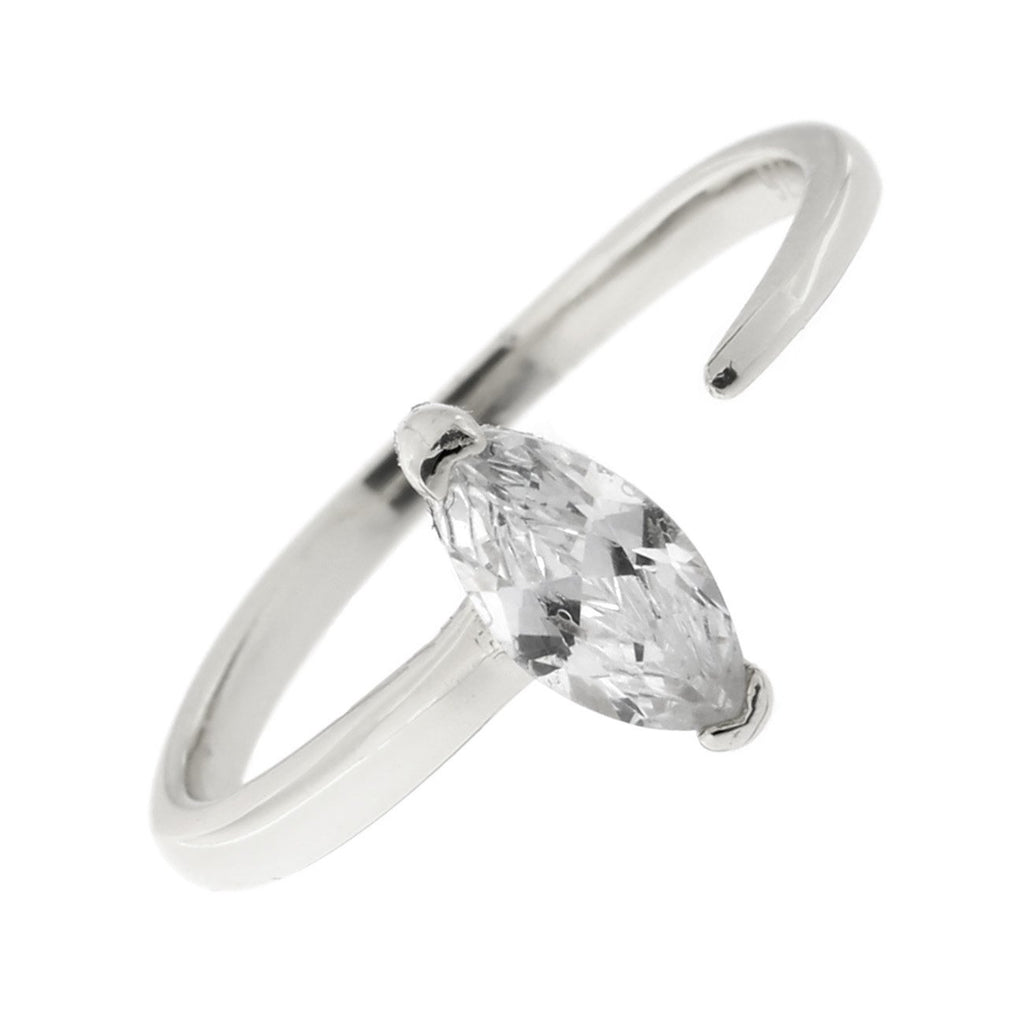 Sterling Silver Marquise Cut Cubic Zirconia Open Adjustable Ring, Size 7-9