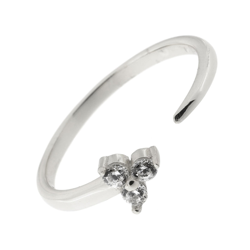 Sterling Silver Cubic Zirconia Trio Open Adjustable Ring, Size 7-9