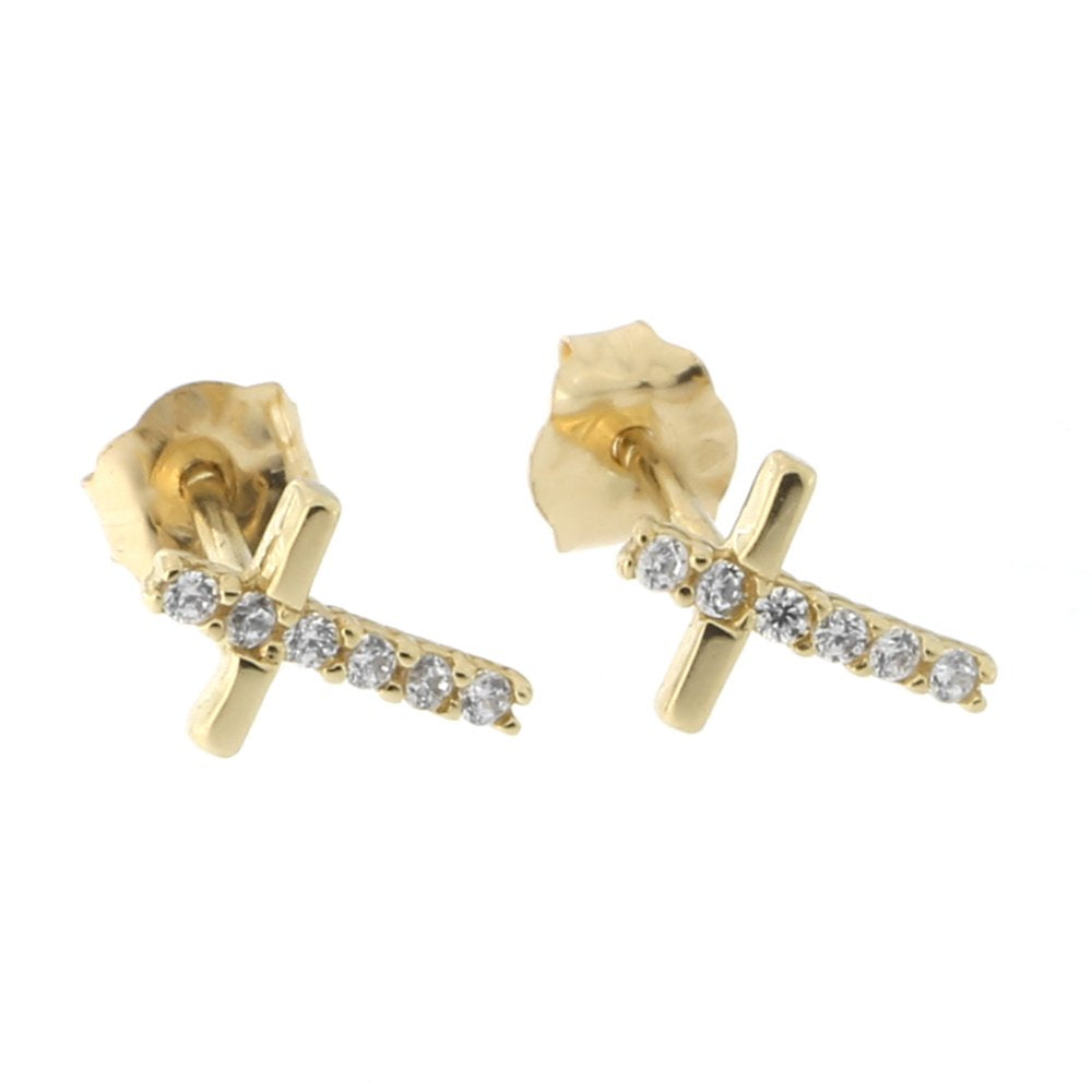 14k Yellow Gold Half Cubic Zirconia Cross Stud Earrings