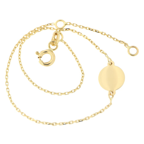 "14k Yellow Gold Engravable Disc Chain Bracelet, 6.5""-7.5"""