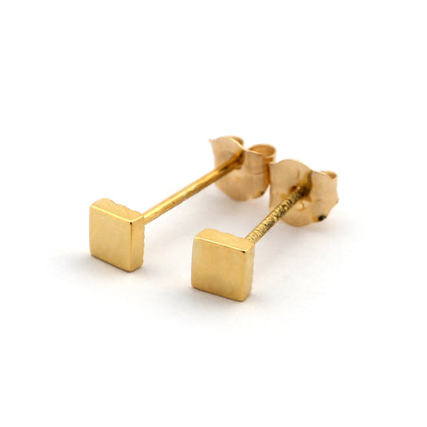 14k Yellow Gold Tiny Square Stud Earrings