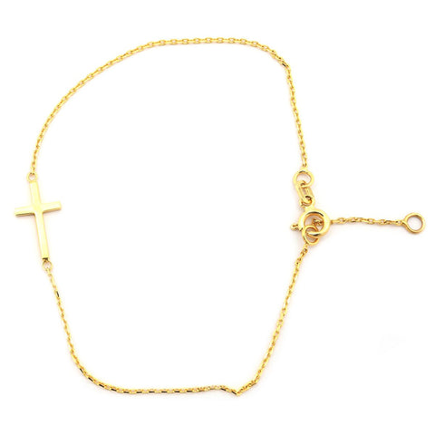 "14k Yellow Gold Delicate Sideways Cross Chain Bracelet, 7"" - 7.5"""