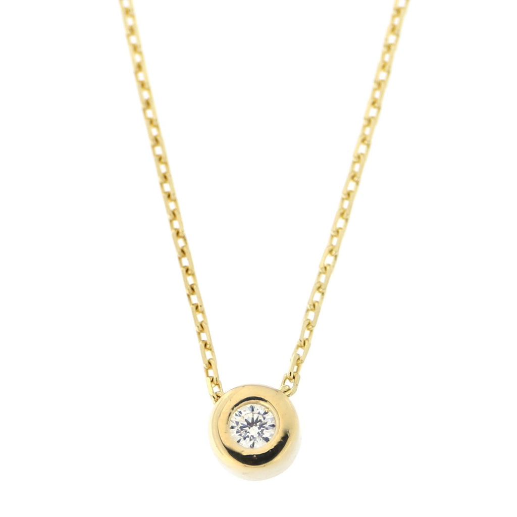 "14k Yellow, White or Rose Gold Tiny Bezel Set Cubic Zirconia Solitaire Pendant Necklace, 16""-17"""