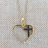 14k Yellow Gold Black and White Cubic Zirconia Cross Inside Heart Pendant Necklace, Pendant only